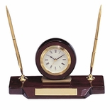 ROSEWOOD DESK CLOCK WITH 2 PENS AND PLATE