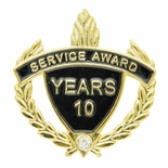 SERVICE AWARD PIN WITH RHINESTONE, 10 YEARS