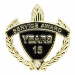 SERVICE AWARD PIN WITH RHINESTONE, 15 YEARS