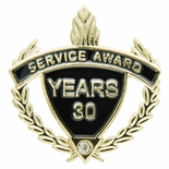 SERVICE AWARD PIN WITH RHINESTONE, 30 YEARS