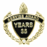 SERVICE AWARD PIN WITH RHINESTONE, 35 YEARS