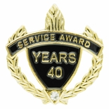 SERVICE AWARD PIN WITH RHINESTONE, 40 YEARS