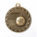 SOCCER MEDAL IN ANTIQUE BRASS, SILVER OR BRONZE
