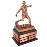 SOCCER PERPETUAL TROPHY, 13-1/2 INCH, ELECTROPLATED IN ANTIQUE BRONZE