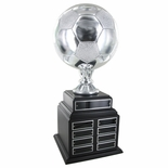 SOCCER PERPETUAL TROPHY, HEIGHT 19 INCHES, 8 INCH SILVER BALL