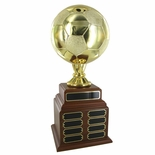 SOCCER PERPETUAL TROPHY, HEIGHT 19 INCHES, 8 INCH GOLD BALL
