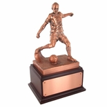 SOCCER TROPHY, 13-1/2 INCH, ELECTROPLATED IN ANTIQUE BRONZE