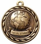 SOCIAL STUDIES MEDAL IN ANTIQUE BRASS ONLY