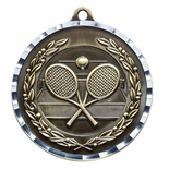 TENNIS ANTIQUE FINISH BRASS MEDAL