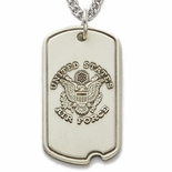 U.S. AIR FORCE STERLING SILVER DOG TAG PLAIN BACK FOR ENGRAVING