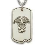 U.S. NAVY STERLING SILVER DOG TAG PLAIN BACK FOR ENGRAVING
