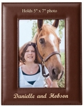 9-1/2 x 7-1/2 INCH VERTICAL TAN LEATHERETTE PICTURE FRAME, HOLDS 5 X 7 PHOTO