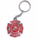 VOLUNTEER FIRE FIGHTER PEWTER KEY CHAIN