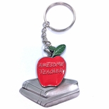 AWESOME TEACHER RED APPLE PEWTER KEY CHAIN