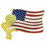 1 INCH YELLOW RIBBON ON AMERICAN FLAG PIN
