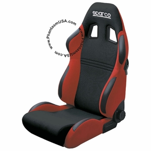 Sparco (00946NRRS) Torino 2, Racing Seat, Reclinable Back (Black/Red Color)