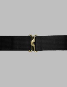 Black Cotton Web Pistol Belt w/Gold Finish