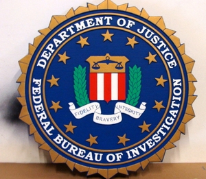 FBI Wall & Podium Plaques Hand Carved Mahogony