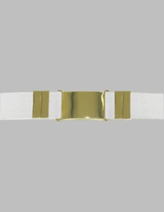 White Parade Belt White with Gold Buckle