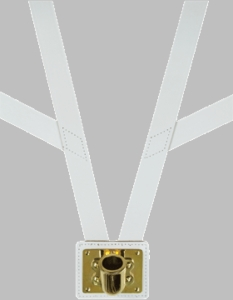 Honor Guard White Leather Flag Carrier Brass or Chrome
