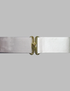 White Cotton Web Pistol belt w/Gold Finish