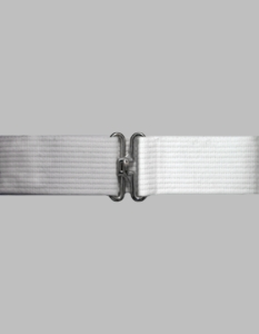 White Cotton Web Pistol Belt w/Silver finish