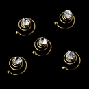 12 Gold with Clear Stones Hair Accents Twist In's