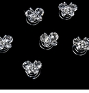 12 Precious Silver Clear Crystal Butterfly Twist-Ins