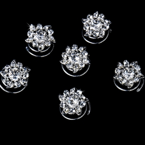 24 Captivating Silver Clear Rhinestone Flower Twist-Ins