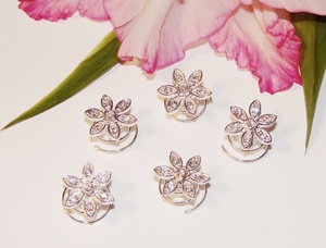 24 Lovely Silver Clear Rhinestone Flower Twist-Ins