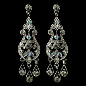 AB & Clear Rhinestone Chandelier Earrings