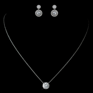 Antique Crystal Pave Necklace & Double Drop Earrings