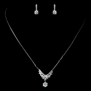Antique Rhodium Silver Clear Petite CZ Crystal Necklace & Round Petite CZ Child's Earrings Jewelry Set