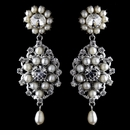 Antique Rhodium Silver Clear Rhinestone & Freshwater Pearl Accent Drop Earrings