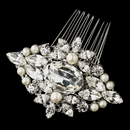 Antique Rhodium Silver Clear Rhinestone & Freshwater Pearl Comb