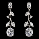 Antique Silver Clear CZ Crystal Necklace & Earrings