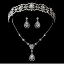 Antique Silver Clear CZ Crystal & Rhinestone Tiara Headpiece