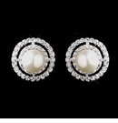 Antique Silver Ivory CZ Crystal Earrings