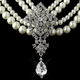 Antique Silver Ivory Pearl & Rhinestone Necklace & Earrings Set