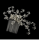Antique Silver Swarovski Crystal Bead & Rhinestone Hair Comb