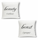 Beauty & Beast Couples Throw Pillow Set
