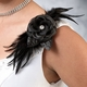 Black Flower Feather Clip