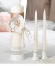 Burlap & Lace Candle Set