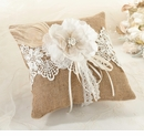 Burlap & Lace Wedding Ring Bearer Pillow