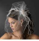 Captivating Birdcage Veil Comb with Feathers & Austrian Crystals