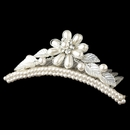 Child's Silver White Pearl Flower & Leaves Headpiece