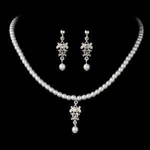 Childrens Silver White Necklace Set