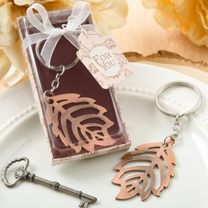Copper Color Metal Fall Leaf Keychain