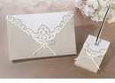 Country Lace Guest Book & Pen Set