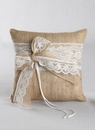 Country Romance Burlap & Lace Ring Pillow